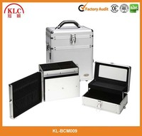 Beauty 2-in-1 Silver Aluminum Makeup/Cosmetic and Jewelry Travel Case