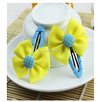 Sweet candy girls dot hairpins fabric BB bowknot hair clips