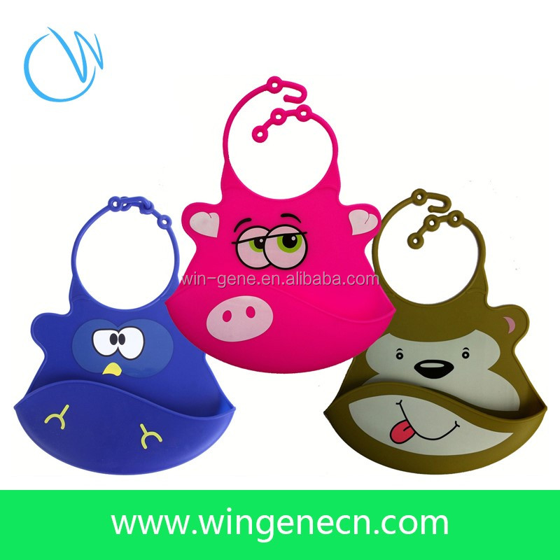 FDA Approved Cartoon Pattern 100% Silicone Feeding Baby Bib For Baby