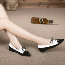 2017 latest ladies sheepskin patent leather pointed toe women cheap flat shoes for sale