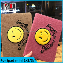 "Funky Auto Sleep Wake Original Flip Leather Back Case with stand smile face ""Have a nice day"" tablet case for iPad mini 1/2/3"