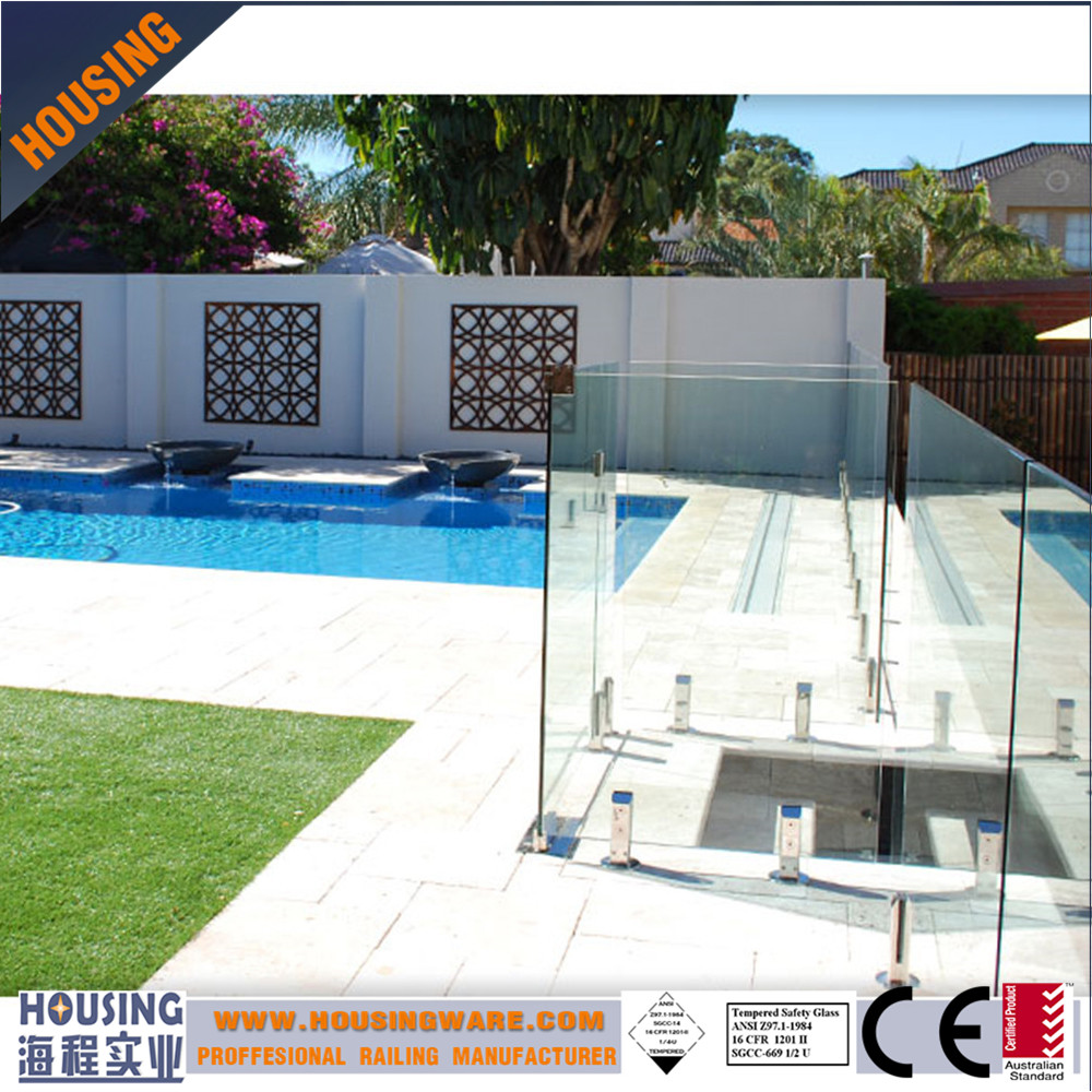 Prefabricated pool frameless glass fencing with stainless steel spigots