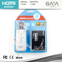 Seamlessly 3x1 HDMI switcher 3 in 1 out support remote control with audio amplifier up to 1080P