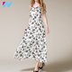 wholesale maxi dress women summer fashion Floral Print off shoulder plus size Elegant Chiffon Women long dress