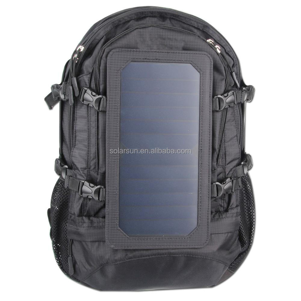 black color solar charger backpack for mobile with eva+pu+abs bag cute diaper bag backpack
