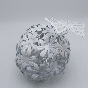 Custom white color metal ball with butterfly Christmas hanging wrought iron wall decoration