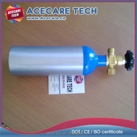 1L-15mpa O2 aluminum cylinder,small portable oxygen gas cylinder, high pressure gas bottle