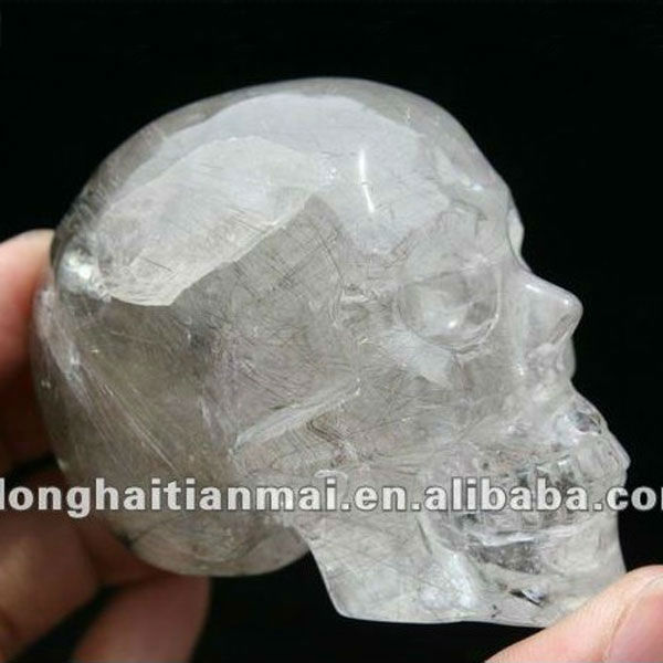 Unique Natural White Hair Quartz Crystal Skull / High Quality Carved Crystal Skull