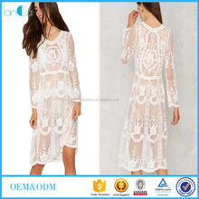 Western women summer fashion lace printed sheer maxi dresses