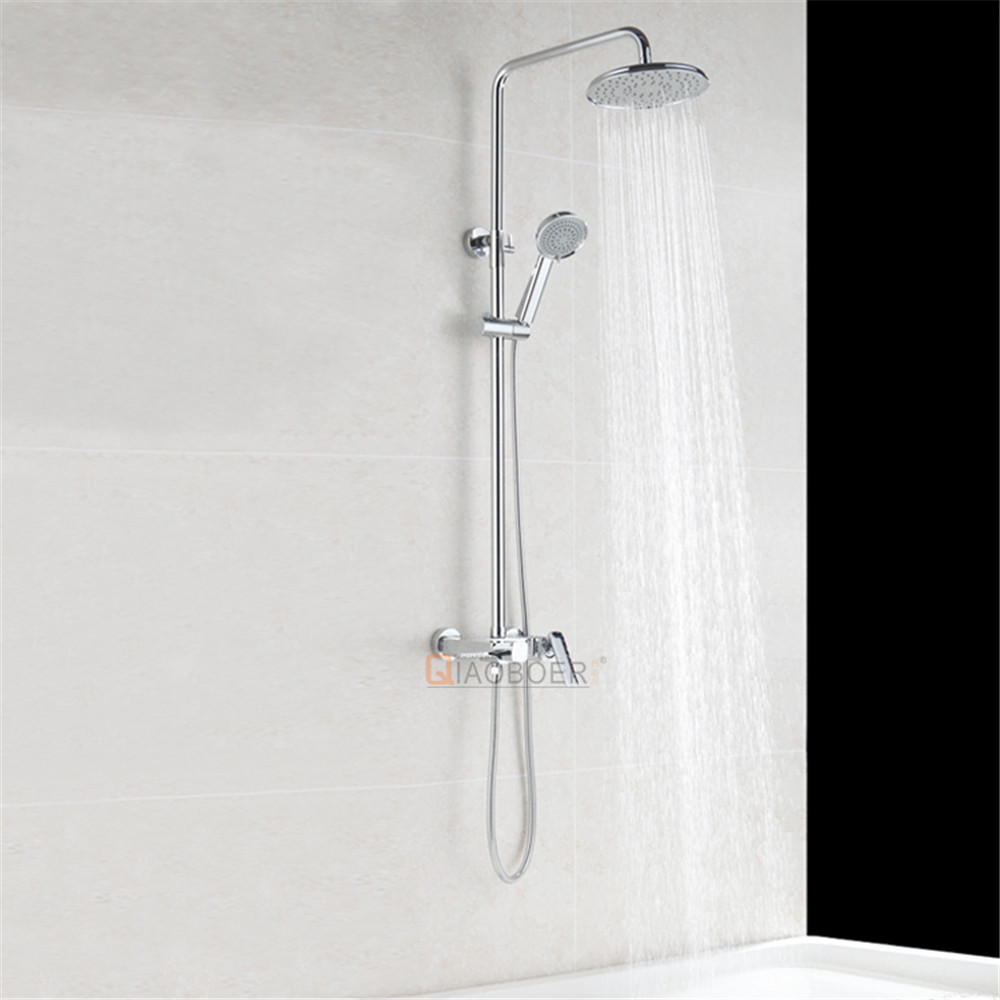 Wholesale new arrival chrome brass single handle combination ceramic valve shower rail set