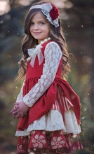 High quality fall winter white lace long sleeve floral girls red dress