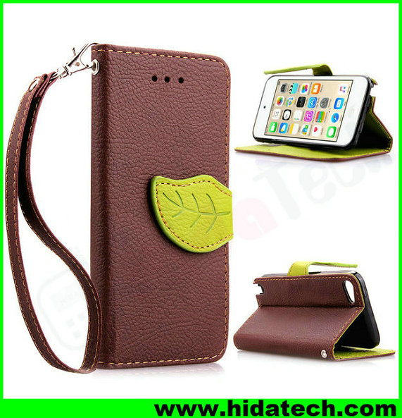 Fashion flip pu leather phone wallet case for iphone5 5s leather pouch