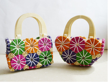 Colourful mini handbag ladies woven beach bag
