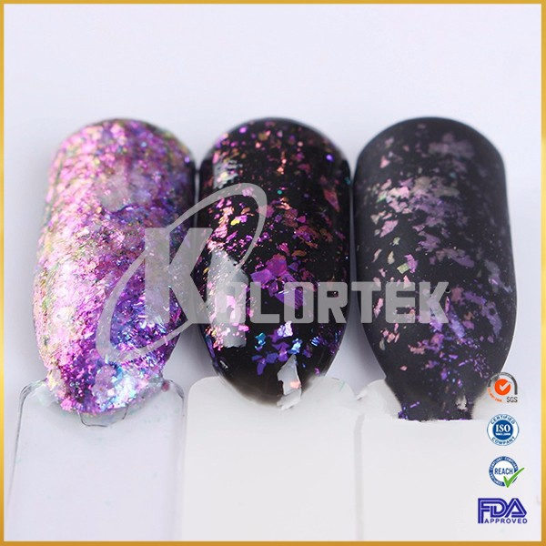 Lastest nail trend color changing translucent chameleon flakes
