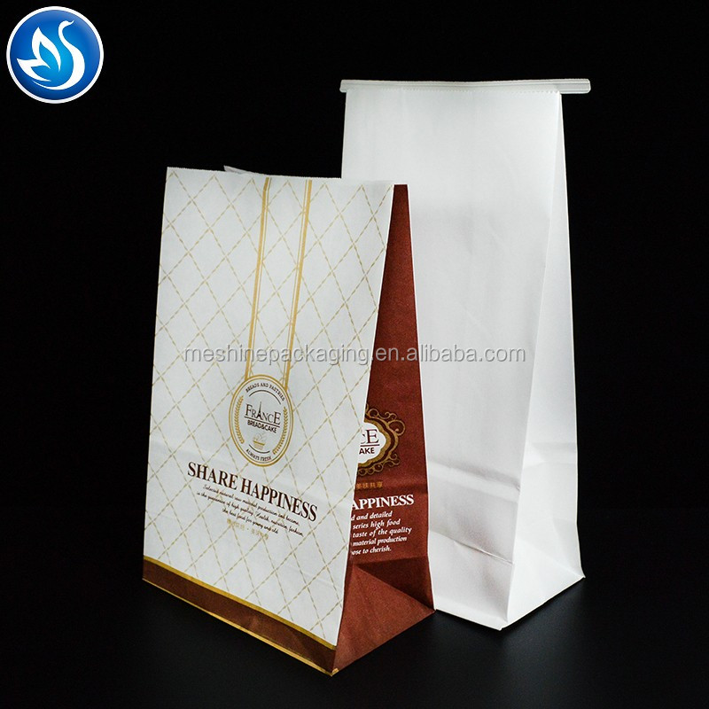 Hot selling high quality greaseproof brown kraft food paper bag