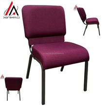 Stacking claret upholstered chair for church