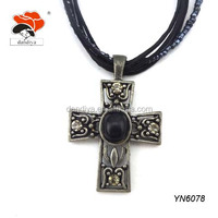 Welcomed Black Multi-layer Necklace With Vintage Hollow Out Jesus Cross On Sale