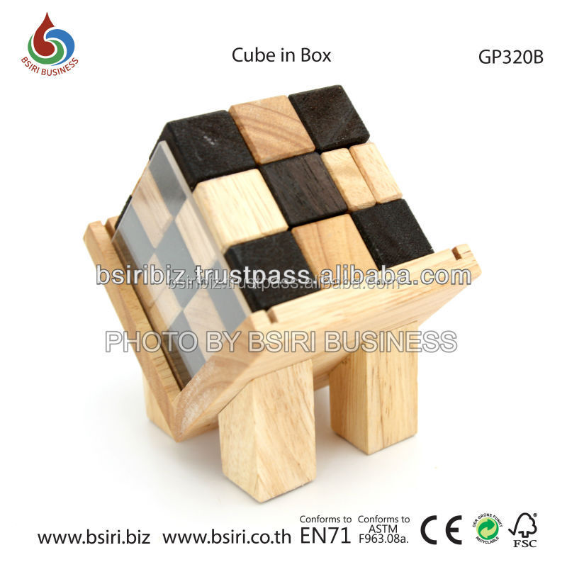 Cube in Box wooden puzzles for adults brain teasers
