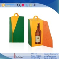 wine box novelty, glass bottle leather tote wine box