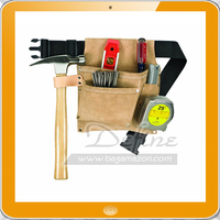 Heavy-duty 3 Pockets Suede Leather Carpenter Tool Belt Bag