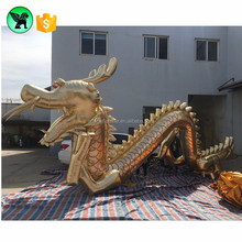 Holiday decoration giant golden dragon inflatable mascot model for sale ST239