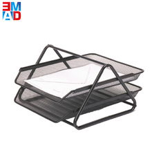 Office desktop black metal wire mesh 2 Tiers doucments A4 paper tray file letter tray