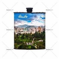 Cheap Novelty Plastic Hip Flask 7oz, colorfull Quito design
