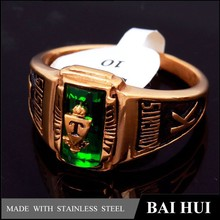Fashion style gold plating T men meaningful emerald ring