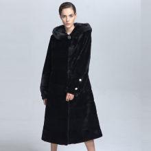 Wholesale Black Real Fur Hooded Coat Winter Genuine Mink Fur Women Clothing