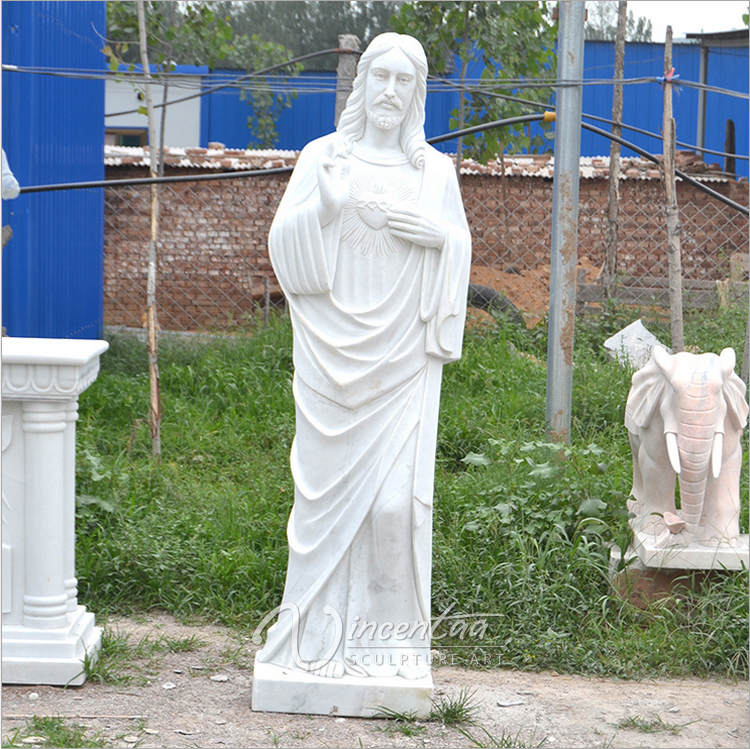 famous christian sculpture white marble meditating jesus statue