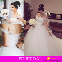 Latest Pictures Ball Gown Cap Sleeve Beading Flower Wedding Gowns 2016 Bridal