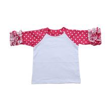 Wholesale boutique hot sale adult cheap wholesale ruffle clothing raglan shirt with ruffle sleeve