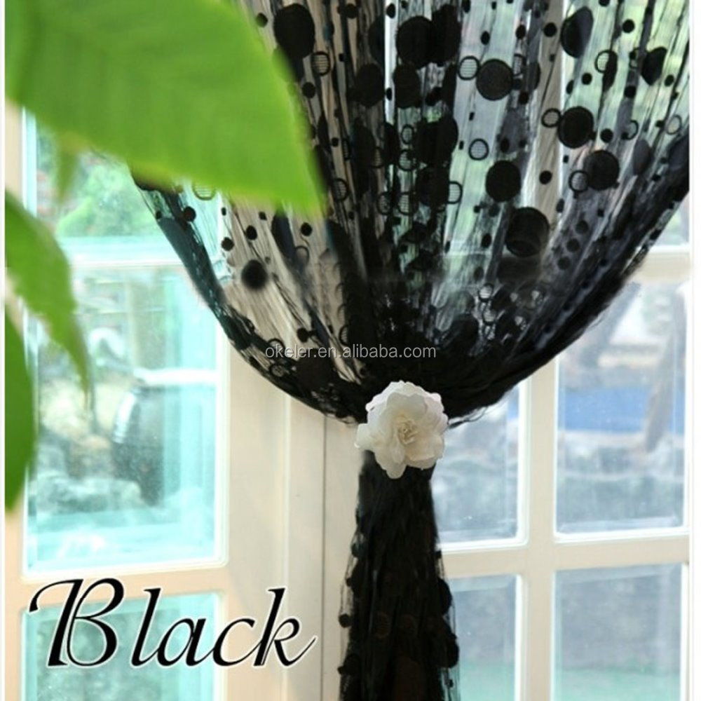 2016 very cheap Balck Romantic Room Door Window Roundness Pattern String Curtain