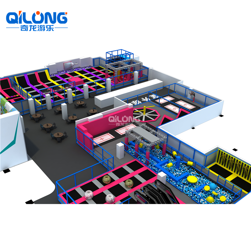 QILONG Amusement Wholesale 6000*3000*600cm Or Customized Children Adults Trampoline Park