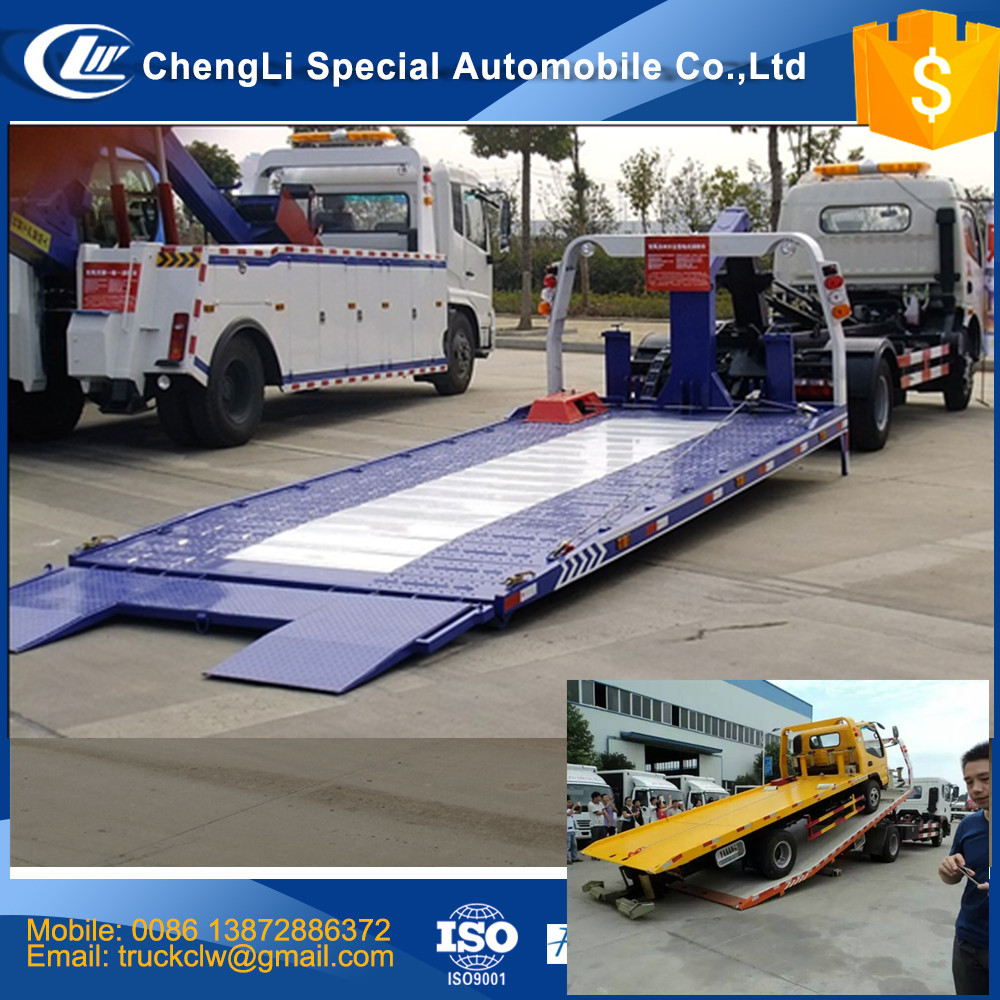 CN Emergency Car Carrier slide bed tow truck 4 ton Flatbed Recovery Road rescue truck Customized one drive two car for sale