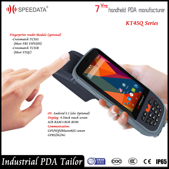 4.5 Inch Touch Screen Handheld Android Portable Biometric Fingerprint Reader support NFC UHF RFID Reader