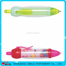 plastic transparent mini pushing ball pen with clip for children
