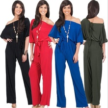 F40441A Europe style boat neck women fashion jumpsuit