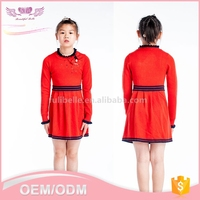 Fashion cheap custom kids clothes autumn long sleeve red children clothing girl's sweaters dresses