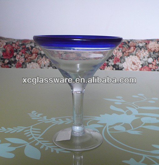 Mexican blue rim art martini glass,Mexican glassware