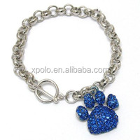 Fashion high quality silver plated thick chunky chain linked colorful CZ crystal paw print shape charm bracelet