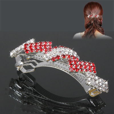 Shining Rhinestones Decorated Hair Clip Pin Hairclip Hair Ornament for Women Ladies (Red)