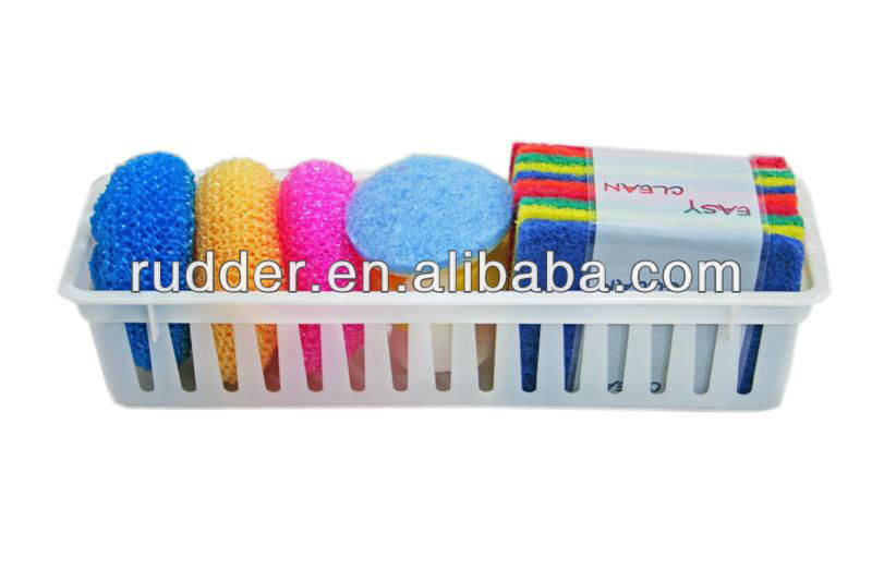 High quatity Organizing Bin with sponge set for kitchen cleaning