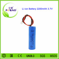 1s1p rechargeable 3.7v 2200mah 18650 li-ion battery