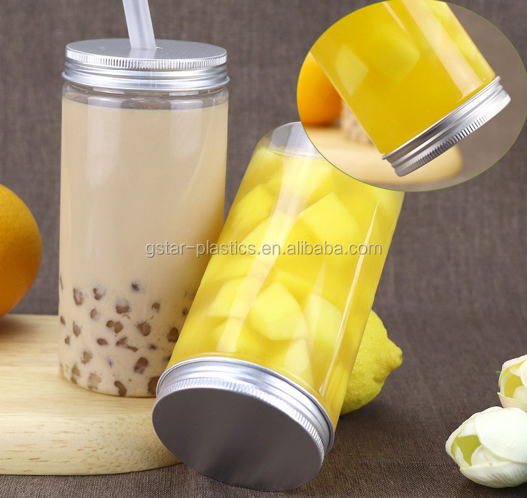 500ml 16oz PET Plastic Fresh Fruit Juice Bottles Jars Disposable with Screw Caps and Drinking Straws