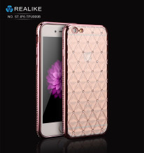 Luxury crystal electroplating tpu cover diamond bling cases for iphone , 6s tpu cover