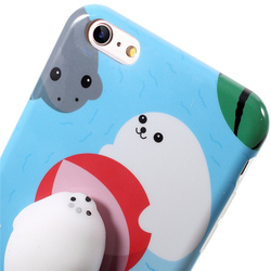 Lovely 3D squishy lazy cat seal silicone phone casing cellphone case for iphone 6Plus/7Plus soft TPU cover