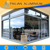 Aluminum Corner profile American window house design,swing /hinged/ fixed double toughen/clear glass Aluminium corner window