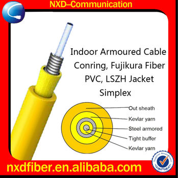 Indoor armored anti-rodent simplex fiber optic cable
