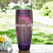 Handmade purple tall glass vase for floral arrangement